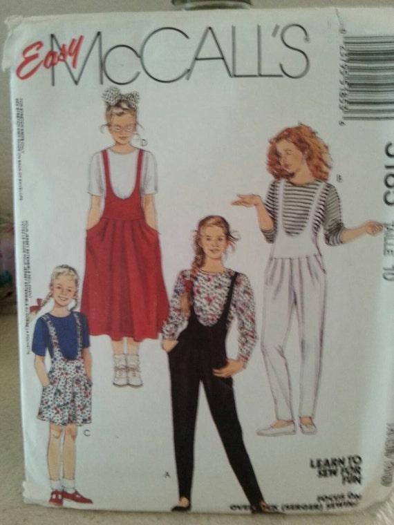 99 Cent Sale 1991 Easy McCalls 5185 Girls Jumpsuit