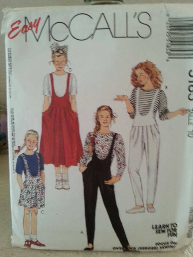 5efd28125bfe 99 Cent Sale 1991 Easy McCall s 5185 Girl s Jumpsuit