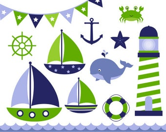 Nautical Clip Art Sail Boat Clipart Red And Navy Digital