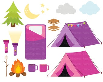 Camping Clip Art - Happy Camper - Tent Camp Fire Smores - Outdoor Camp Clipart - Pink and Purple - Instant Download - Commercial Use
