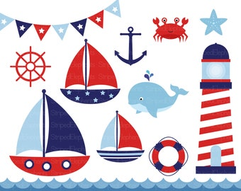 Nautical Clip Art - Sail Boat Clipart - Red and Navy - Instant Download