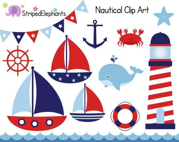 nautical clip art sail boat clipart red and navy digital etsy rh etsy com nautical clip art images nautical clip art free images