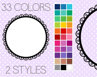 Cutout Scalloped Circle Digital Frames 3 - Clipart Digital Frames - Instant Download - Commercial Use