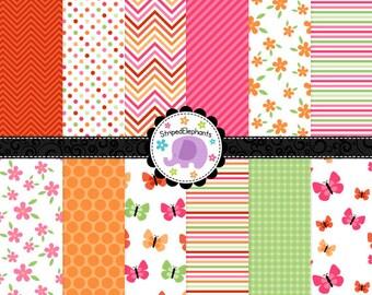 Spring Flowers Digital Papers, digital scrapbook paper, floral Digital Backgrounds, Instant Download, Commercial Use