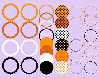 Halloween Digital Frames Orange, Black and White - Instant Download - Commercial Use