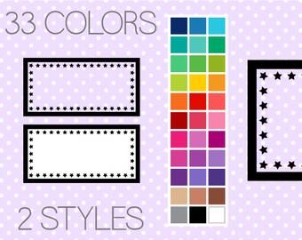 Star Rectangle Clip Art Labels - Printable Labels - Digital Borders - Instant Download - Commercial Use