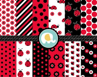 Lady Bug Digital Paper Pack - Lady Beetle Digital Paper - Digital Scrapbook Paper - Digital Background - Instant Download