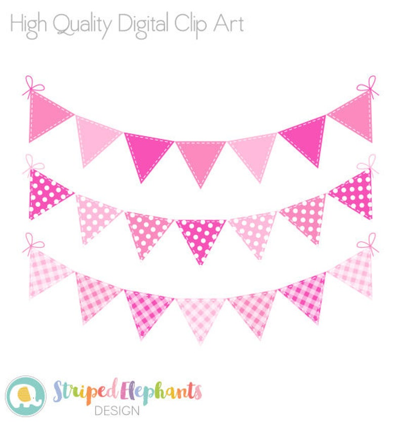 Baby Shower Clip Art Instant Download Pink Bunting Clip Art Baby Girl Bunting Flags Clipart Commercial Use