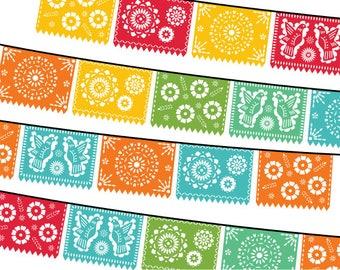 Papel Picado Clipart, Digital Fiesta Mexican Banners Clip Art, Cinco de Mayo Clip Art, Printable Papel Picado - PARTY