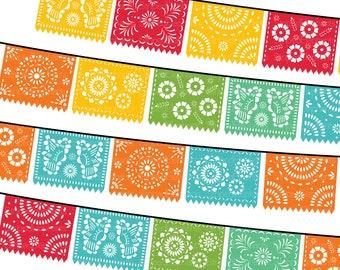 Papel Picado Clipart, Printable Mexican Banners Clip Art, Cinco de Mayo Clip Art - PARTY