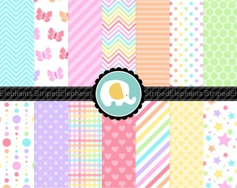 Pastel Rainbow Digital Paper Pack - Clipart Paper - Instant Download - Commercial Use
