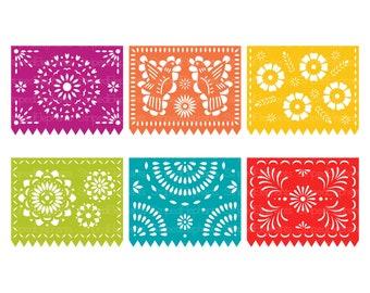 Printable Papel Picado Clipart, Digital Mexican Banners Clip Art - FIESTA