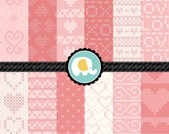 Cross Stitch Heart Digital Paper Pack, Hearts Digital Scrapbook Papers, Digital Backgrounds, Instant Download, Commercial Use