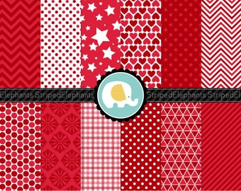 Cherry Red Digital Paper Pack, Red Digital Scrapbook Papers, Red Digital Backgrounds, Instant Download, Commercial Use