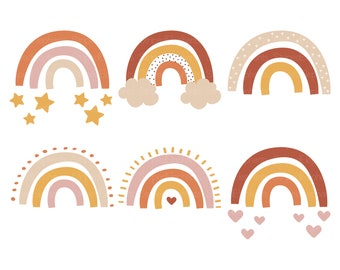 Boho Rainbow Clipart, Modern Rainbow Clipart, Nordic Rainbow, Over the Rainbow, Pastel Nursery Happy, Instant Download, Commercial Use
