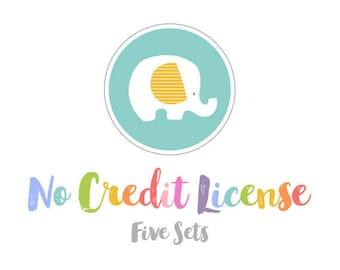No Credit License for 5 Sets of StripedElephants Graphics.