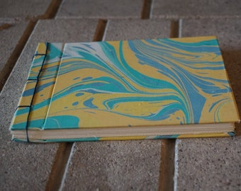 Handmade notebook, Hand Marbled Cover, Hardbound, Japanese binding, travelers notebook, Gift for her, Gift for mom, colorful, made with love