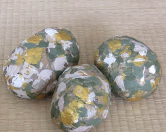 Paper Pulp Stones, Handcrafted Round Pebbles, Home Decor, Green, Gold, White and Grey, Sculpted and Light, Fireplace Decor, Living Room