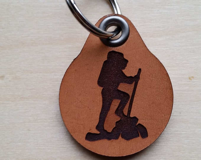 Laser engraved Hiking Leather Key Fob