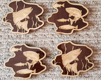 Trout Puddle Drink Coasters