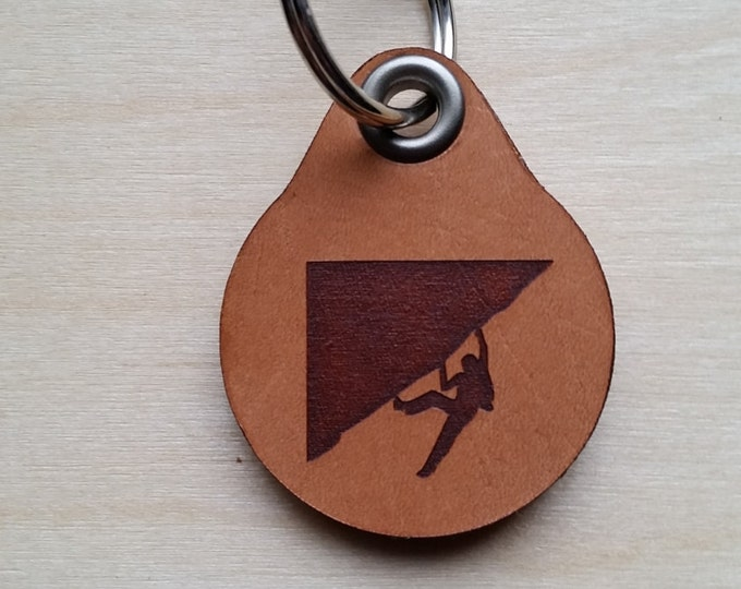 Laser engraved Climbing Leather Key Fob