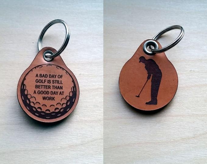 Laser engraved Golfing Leather Key Fob