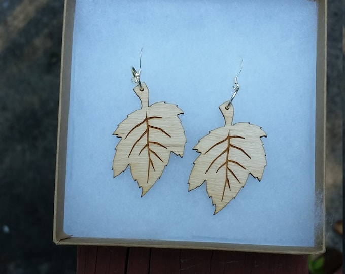 Laser Cut Maple Leaf Earrings
