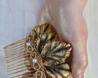 Golden leaf comb for a bride, vintage inpired headpiece, wedding hair accessory in gold
