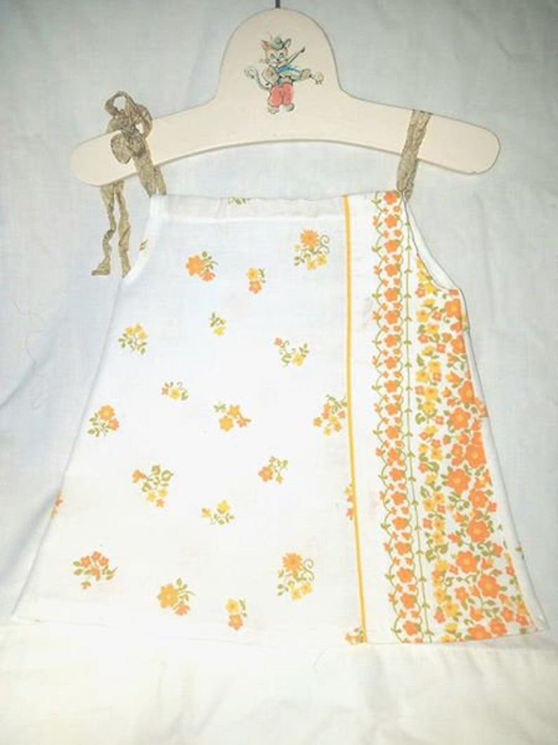 Baby Dress made from Vintage Sheets One of a Kind Orange and White 3-6 Months Size Baby gift SALE Coral