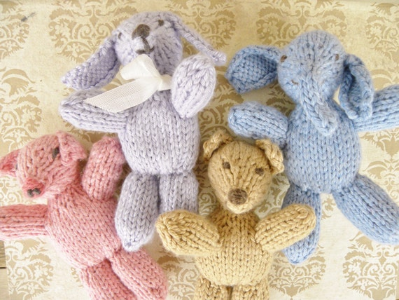 Jasper Bear And Friends Knit Animal Patterns Includes Etsy