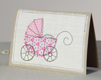 Baby Shower Card, New Baby Girl Card, Girl Baby Shower, Baby Carriage / Pram, Handmade Baby Shower Invitation, Pink Baby Card