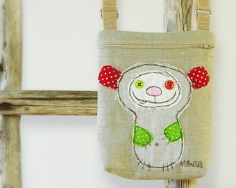 Small Messenger Personalized Mobile Phone Bag for Kids Bear Crossover Canvas Crossbody, Kids Crossbody Purse