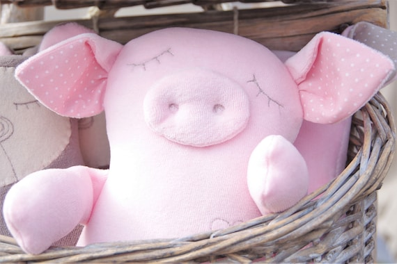 Pig Stuffed Animal Personalized Baby Gift Name Toy Piggy Etsy