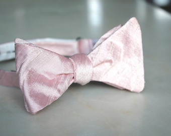 0a54844f5b5e Solid Shell Pink Bow Tie - Groomsmen and wedding tie - clip on, pre-tied  with strap or self tying