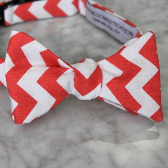 Bow Tie in Coral and White Chevron - clip on, pre-tied with strap or self tying