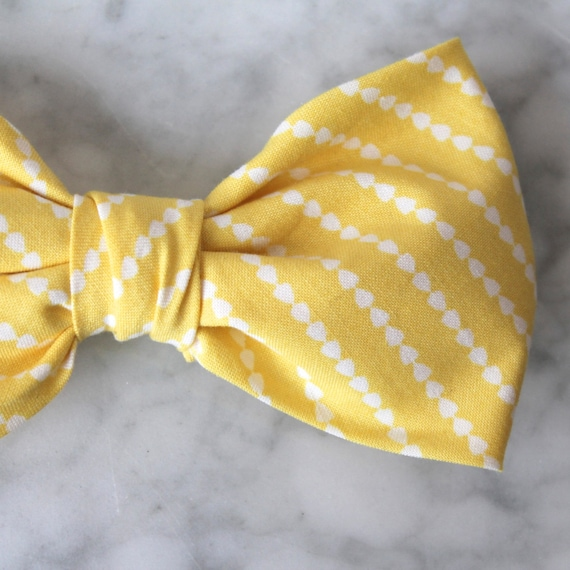 Bow Tie in Yellow Dotted Stripe- Groomsmen and wedding tie - clip on, pre-tied with strap or self tying