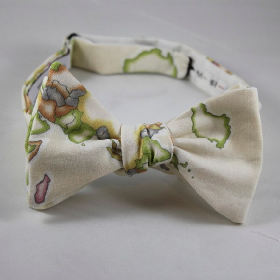 Bright World Map Bow Tie in Cream - Groomsmen and wedding tie - clip on, pre-tied with strap or self tying