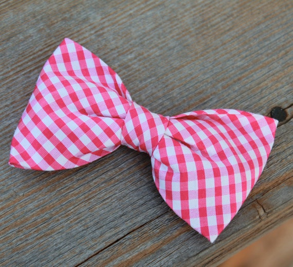 Dark Pink Silk Plaid Bow Tie for Men - Clip on, pre-tied with strap or self tying