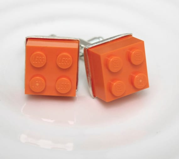 Tangerine Orange Lego Cufflinks - Silver plated - Valentine's Day Gift - Groomsmen Gift, Wedding accessory