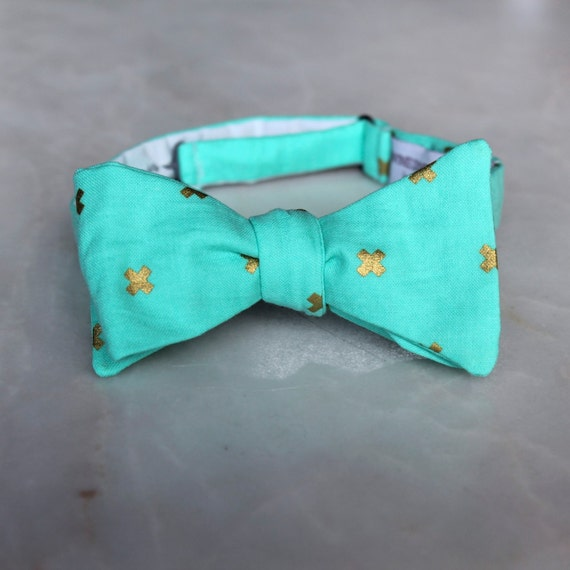 Mint Green and Metalic Gold Cross Bow Tie - clip on, pre-tied with strap or self tying - Wedding attire - groomsmen or ring bearer