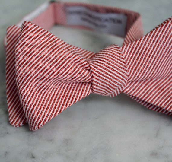 Bow Tie in Tiny Red Seersucker- Self tying - freestyle - Groomsmen gift and ring bearer outfit