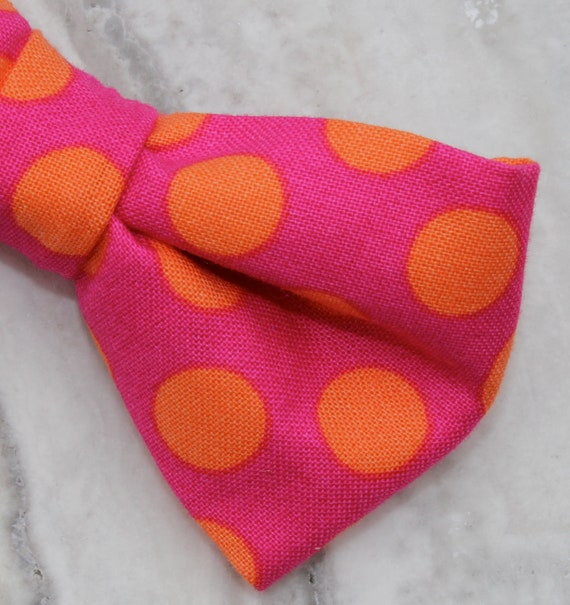 Men's Bow Tie in Pink with Orange Polka Dots - clip on