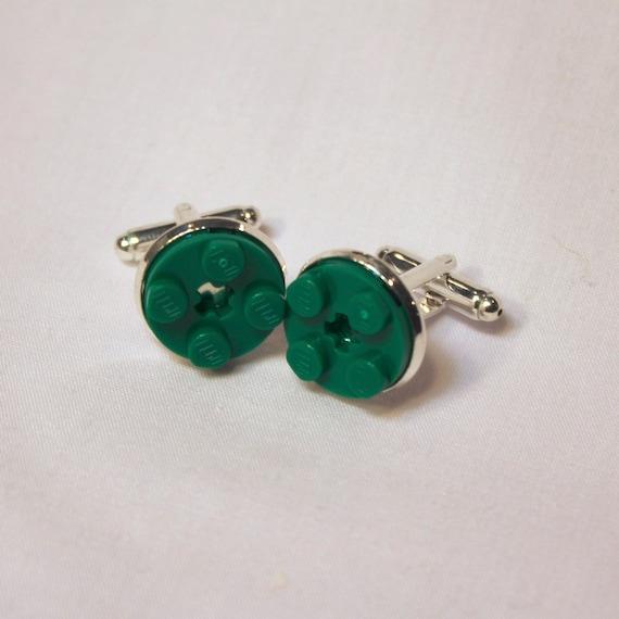 Dark Green Round Lego Plate Cuff Links - Silver plated - Groomsmen gift - Wedding accessories