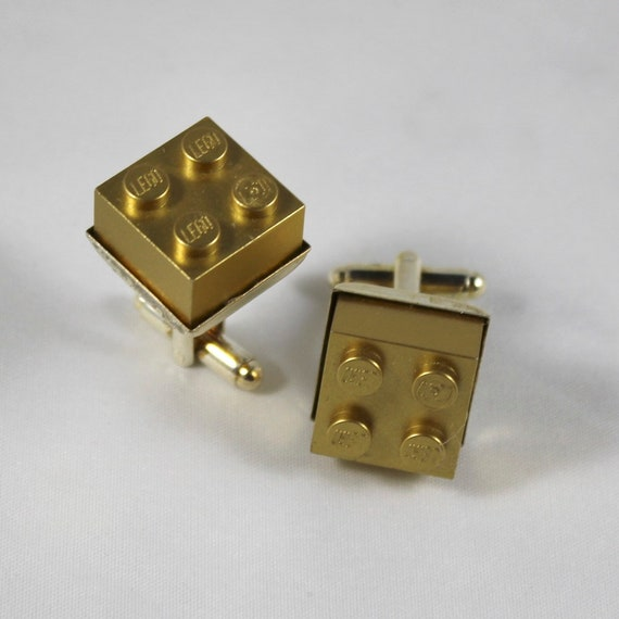 Gold Lego Cufflinks - Silver plated - Valentine's Day Gift - Groomsmen Gift, Wedding accessory