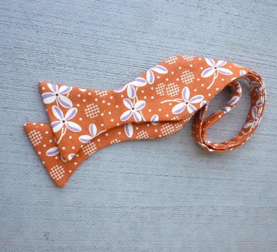 Bow Tie in Orange Prarie Rose - self tying, pre-tied with adjustable strap or self tying