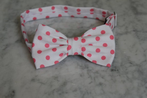 Bow Tie in White and Fuchsia Pink Polka Dots - clip on, pre-tied adjustable strap or self tying - wedding attire, ring bearer outfit