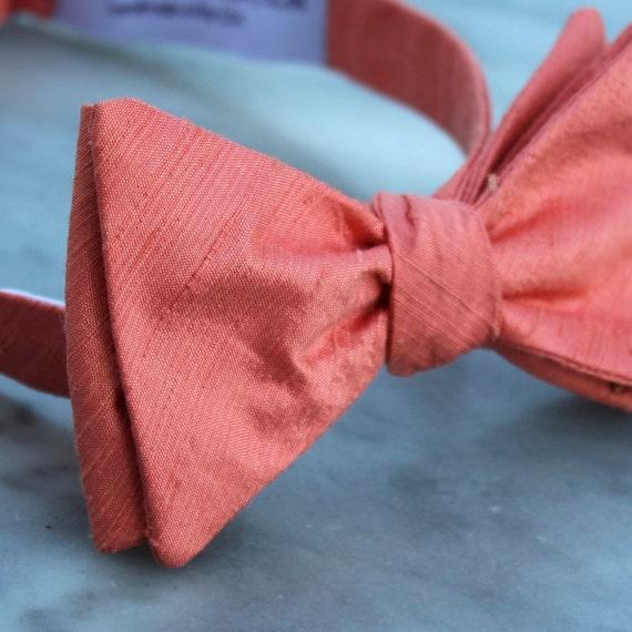 Mens Bow Tie in Dark Peach Silk - self tying, pre-tied adjustable or clip on