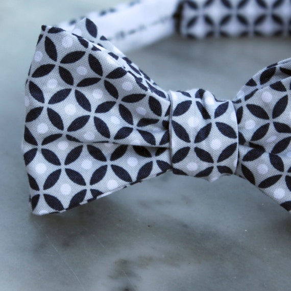 Men or Boys Navy and Silver Gray Diamond Dots Bow Tie- Groomsmen and wedding tie - clip on, pre-tied with strap or self tying