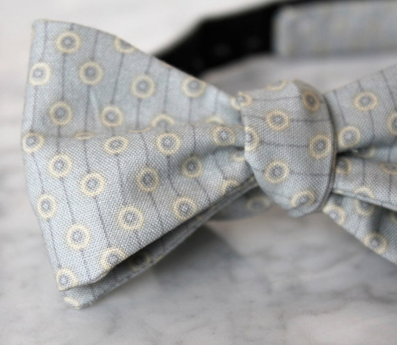 Bow Tie in Silver Gray Dots and Stripes for men, women, or boys- Groomsmen and wedding tie - clip on, pre-tied with strap or self tying