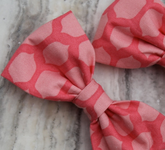 Pink Lattice Bow Tie - clip on, pre-tied with strap or self tying - ring bearer outfit or groomsmen attire